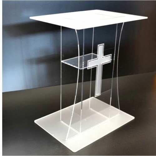 Leggio podio per chiesa plexiglass con croce incisa trasparente e satinato