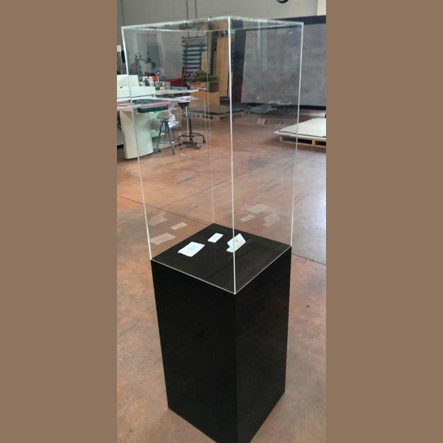 Teca di protezione liuto su colonna espositiva di plexiglass nero